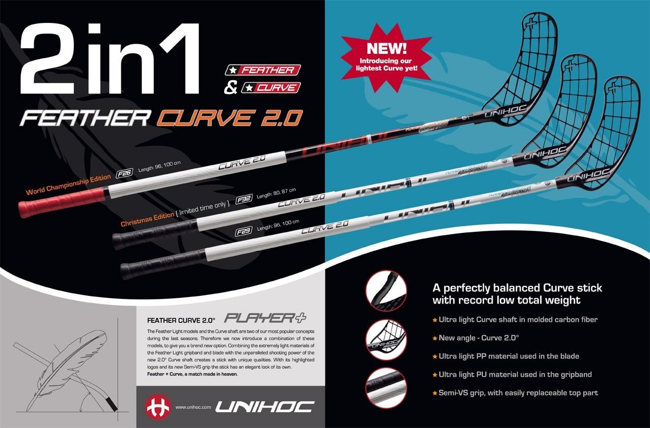 unihoc Player+ Feather Curve 2.0 26 - Floorball Shop