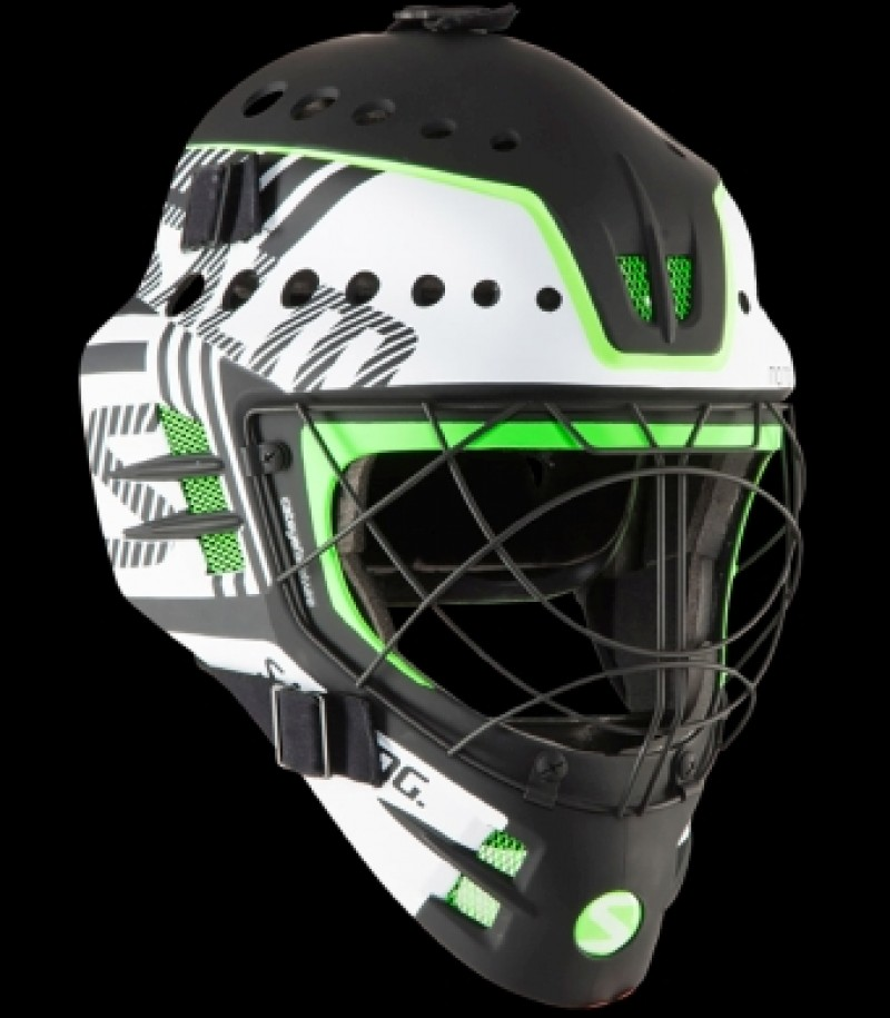 Salming Goaliemaske Travis Elite White/GeckoGreen