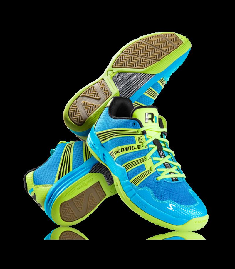 Salming Indoor Floorball Schuh Race1 R1 2.0 Cyan Blue