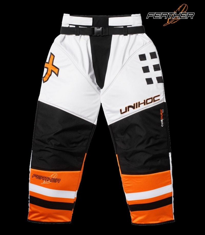 unihoc Goaliehose Feather Neon Orange