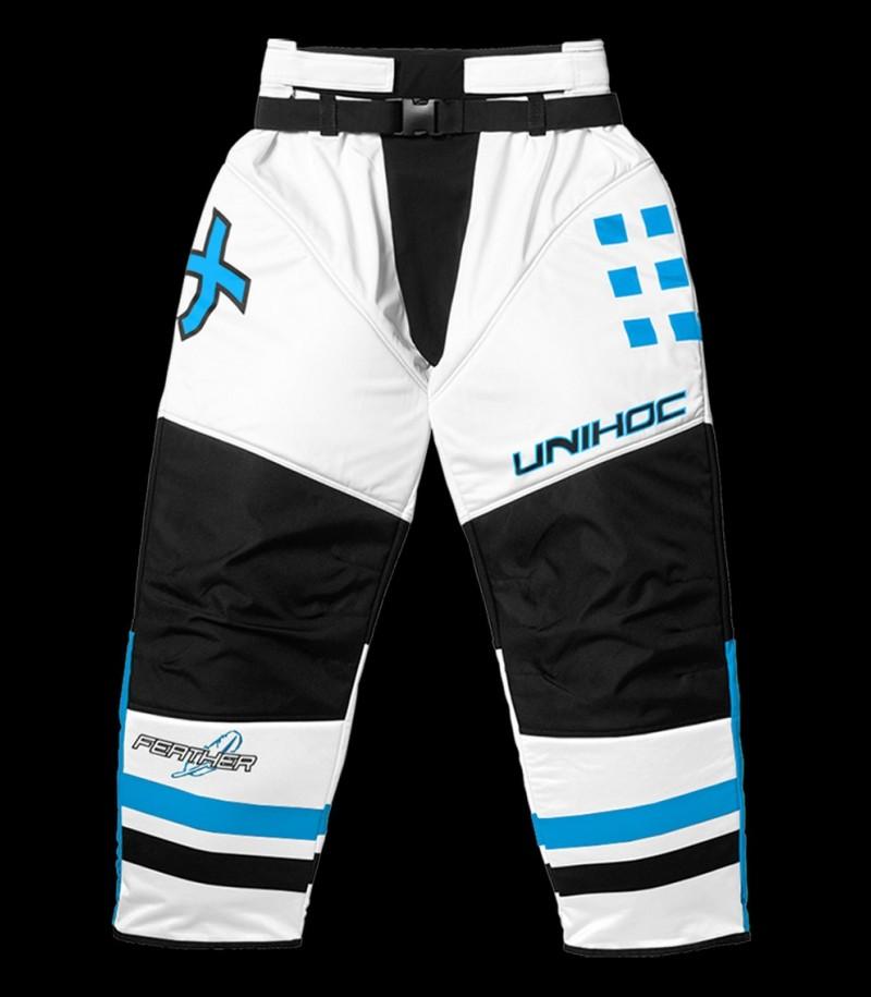 unihoc Goaliehose Feather Weiss Blau